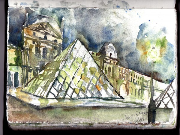 The Louvre at Night Sketch