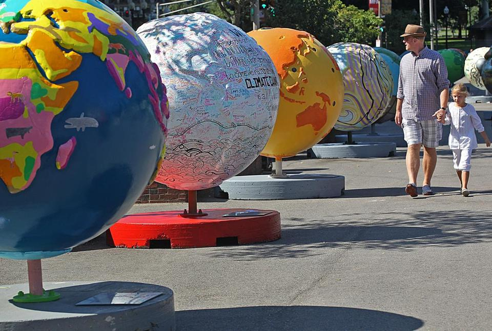 """Boston Common """"Cool Globes: Hot Ideas for a Cooler Planet"""" exhibit 2013"""