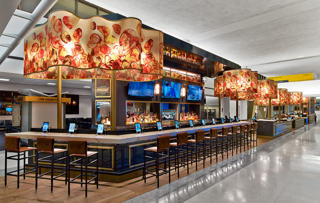 Proof Whiskey Bar, Newark Liberty Airport. Design by Rockwell Group. Photo: Eric Laignel