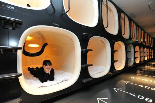 Sleeping Pods in Travel Stations Nine Hour Capsule Hotel Kyoto, Japan