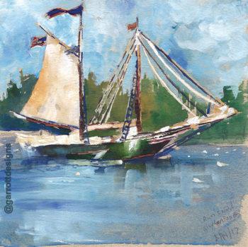 Schooner Stephen Taber Sailboat Watercolor Art