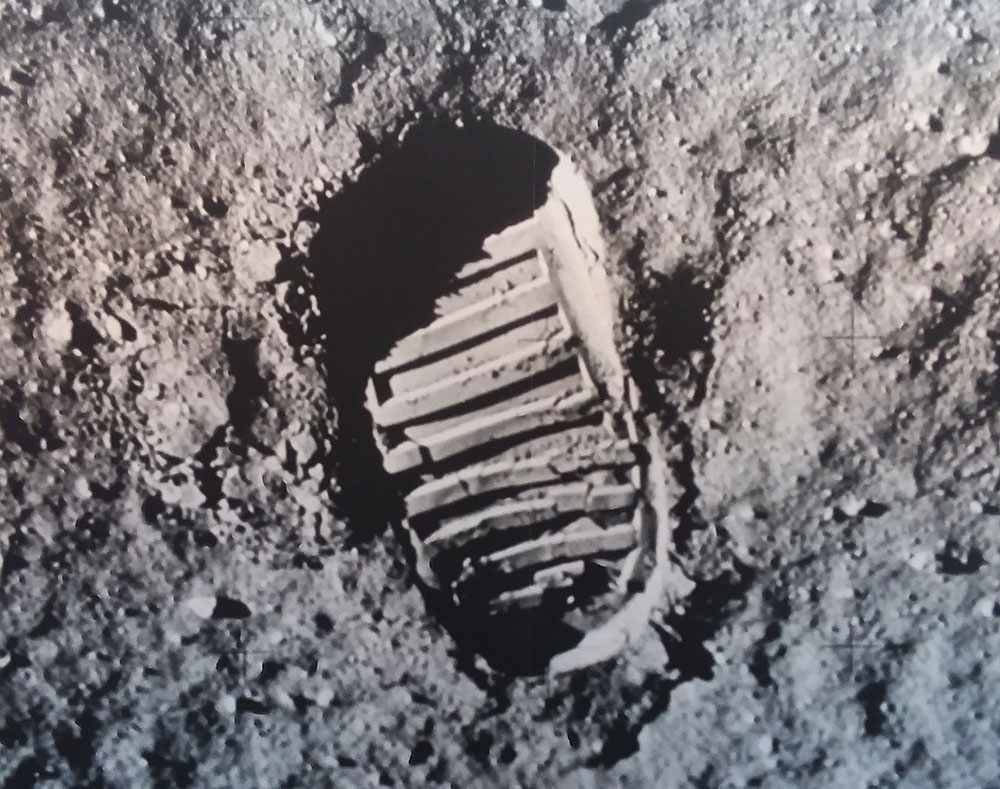 Buzz Aldrin Boot Print on the Moon moon space travel outer space innovation design art science Copenhagen museum futures