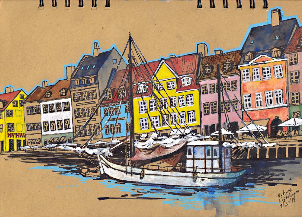 Nyhaven Sketching Architecture Design Copenhagen Denmark Art Culture Urban Planning Sustainability Sketchbook