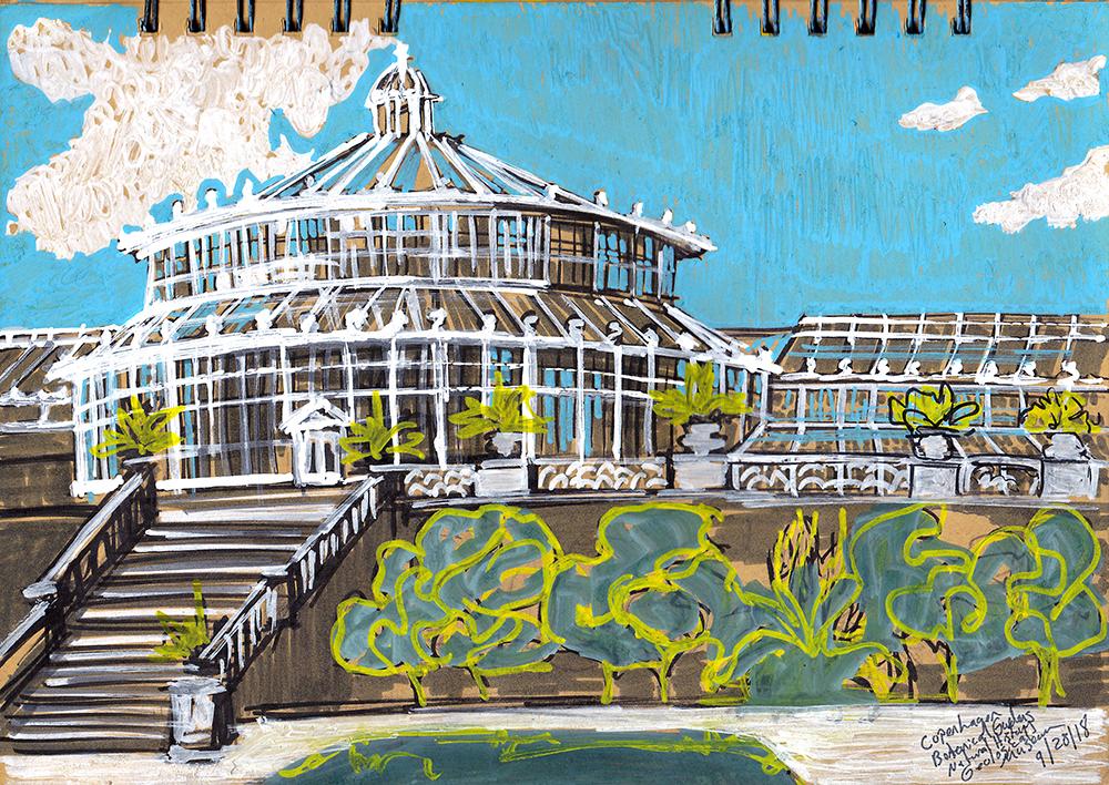 Botanical Gardens Sketching Architecture Design Copenhagen Denmark Art Culture Urban Planning Sustainability Sketchbook