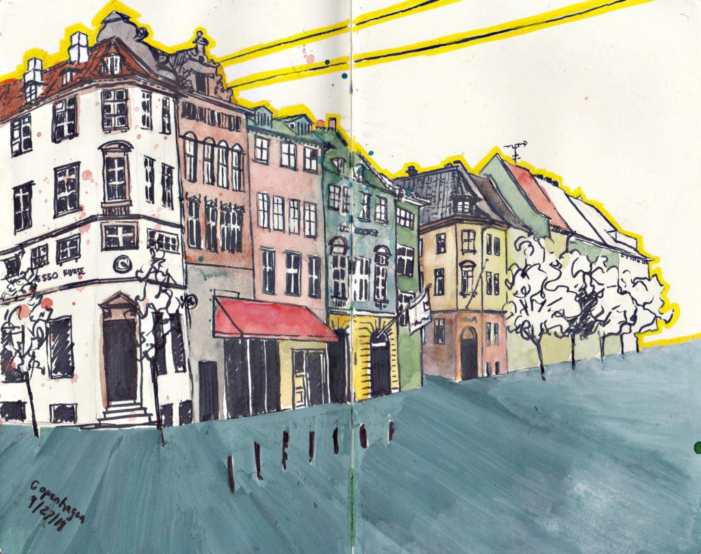Strøget Sketching Architecture Design Copenhagen Denmark Art Culture Urban Planning Sustainability Sketchbook