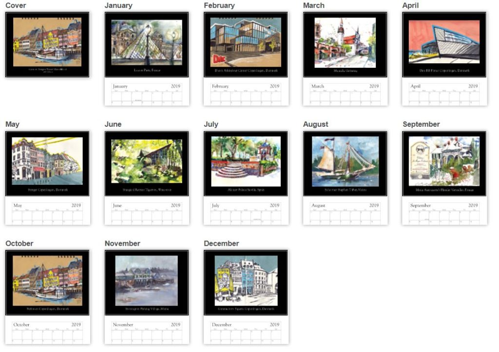 Ideas Gift Giving Designer Architecture 2019 Wall Calendar Art Toys Books Home Decor Office Decor Sketches